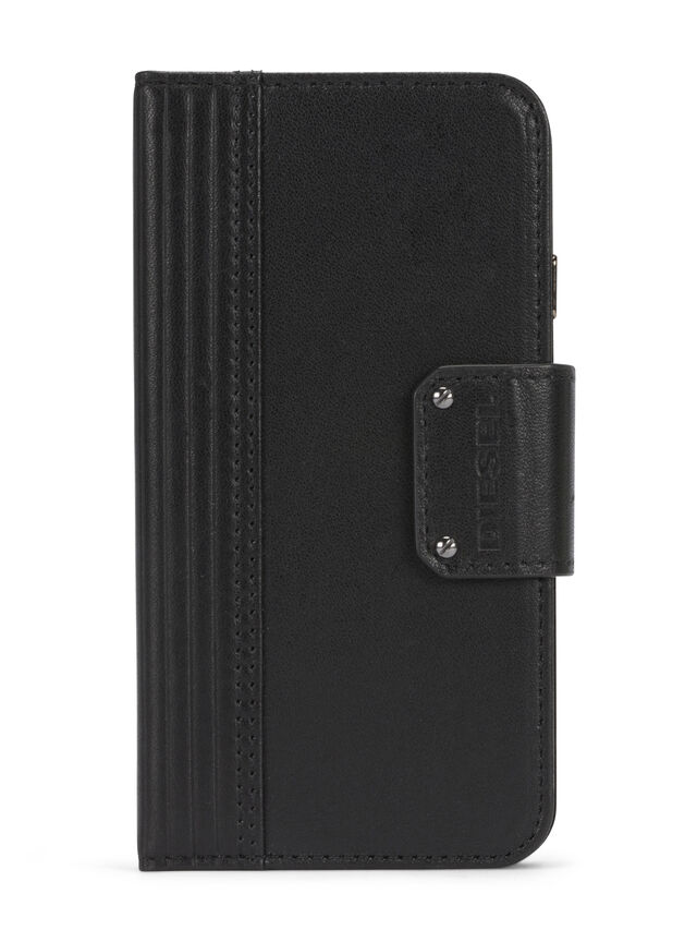 Diesel - BLACK LINED LEATHER IPHONE 8 PLUS/7 PLUS FOLIO, Black - Flip covers - Image 1