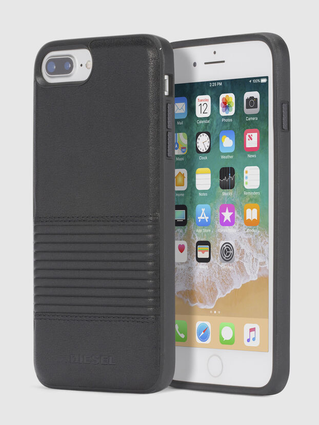 BLACK LINED LEATHER IPHONE 8 PLUS/7 PLUS/6s PLUS/6 PLUS CASE, Black - Cases