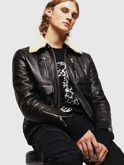 Diesel - L-VINT, Black - Leather jackets - Image 4