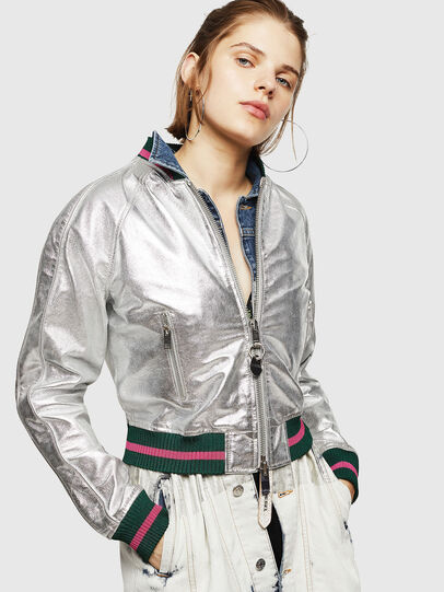 Diesel - L-NOTE, Silver - Leather jackets - Image 1