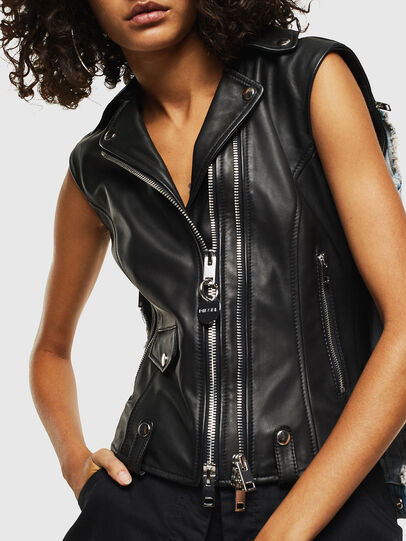 Diesel - L-WELLS, Black Leather - Leather jackets - Image 7