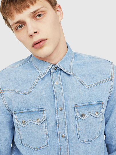 Diesel - D-LEO, Light Blue - Denim Shirts - Image 4