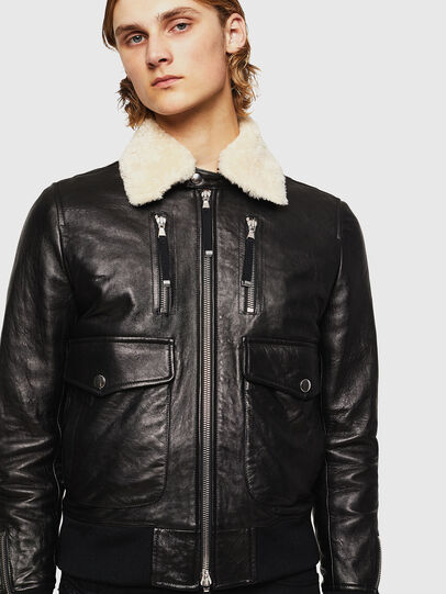 Diesel - L-VINT, Black - Leather jackets - Image 1