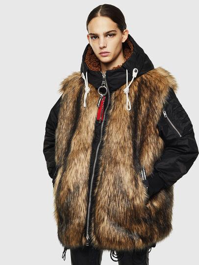 Diesel - L-ALYANA, Black/Brown - Leather jackets - Image 1