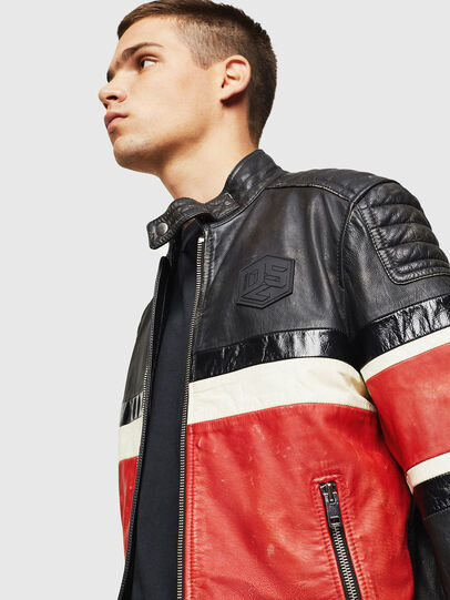 Diesel - L-ROURKE, Black/Red - Leather jackets - Image 7