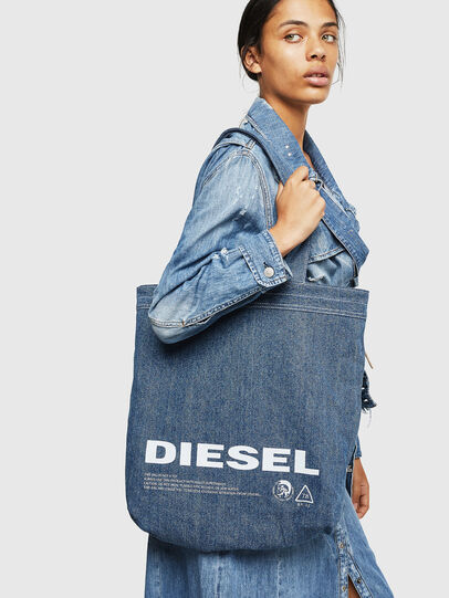 Diesel - F-THISBAG SHOPPER NS, White/Blue - Shopping and Shoulder Bags - Image 7