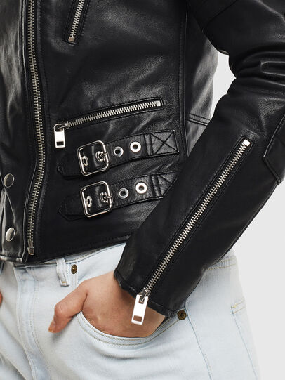 Diesel - L-IGE-NEW, Black - Leather jackets - Image 3