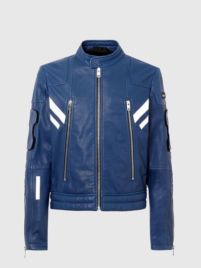 Diesel - L-FULK, Blue - Leather jackets - Image 4
