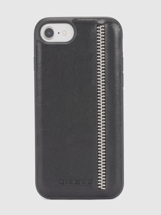 Diesel - ZIP BLACK LEATHER IPHONE 8/7/6s/6 CASE, Black - Cases - Image 2