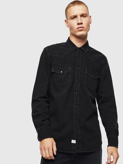 Diesel - D-EAST-P, Black - Denim Shirts - Image 1