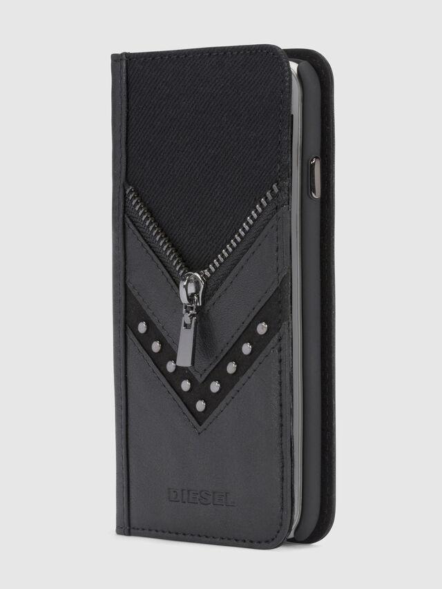 Diesel BLACK DENIM/STUD/ZIPPER IPHONE X FOLIO, Black - Flip covers - Image 4