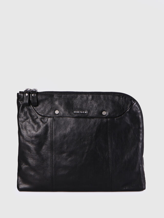 Diesel L-L4CLUTCH, Black Leather - Clutches - Image 1
