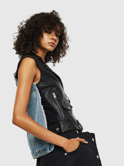 Diesel - L-WELLS, Black Leather - Leather jackets - Image 4