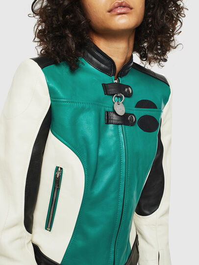 Diesel - L-ALLIE, White/Green - Leather jackets - Image 4